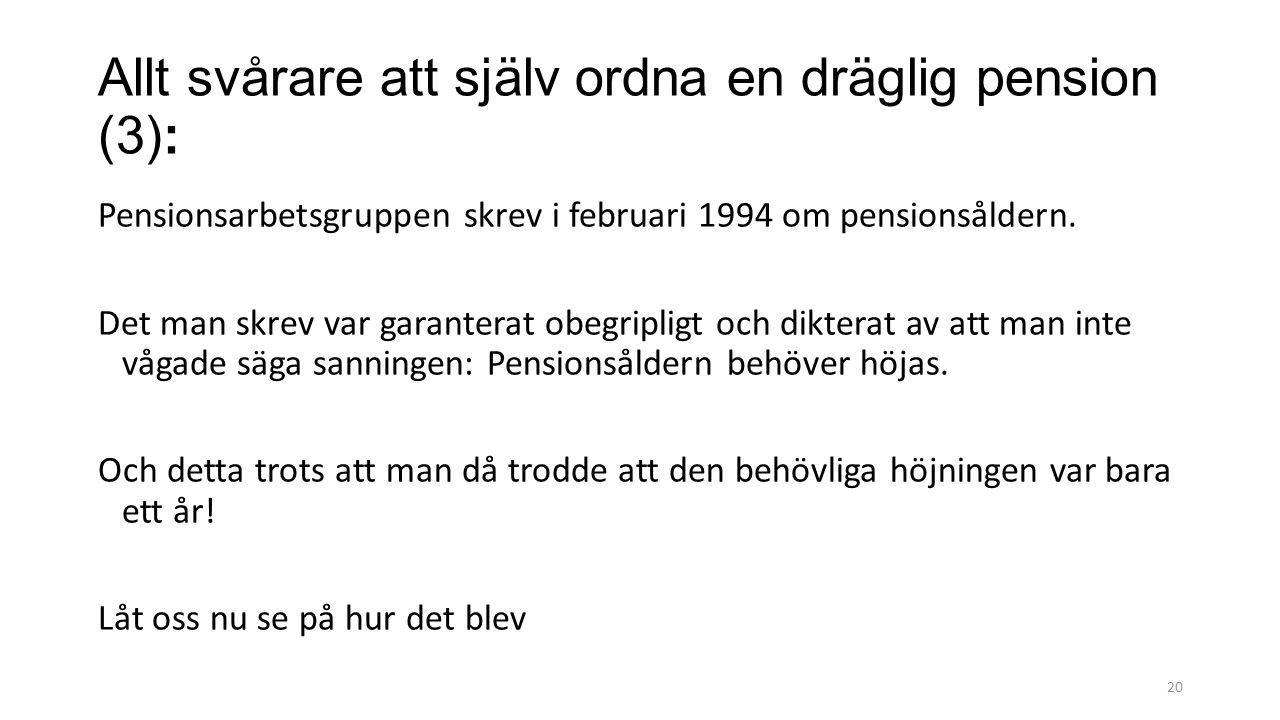 20 Allt svårare att själv ordna en dräglig pension (3): Pensionsarbetsgruppen skrev i februari 1994 om pensionsåldern.