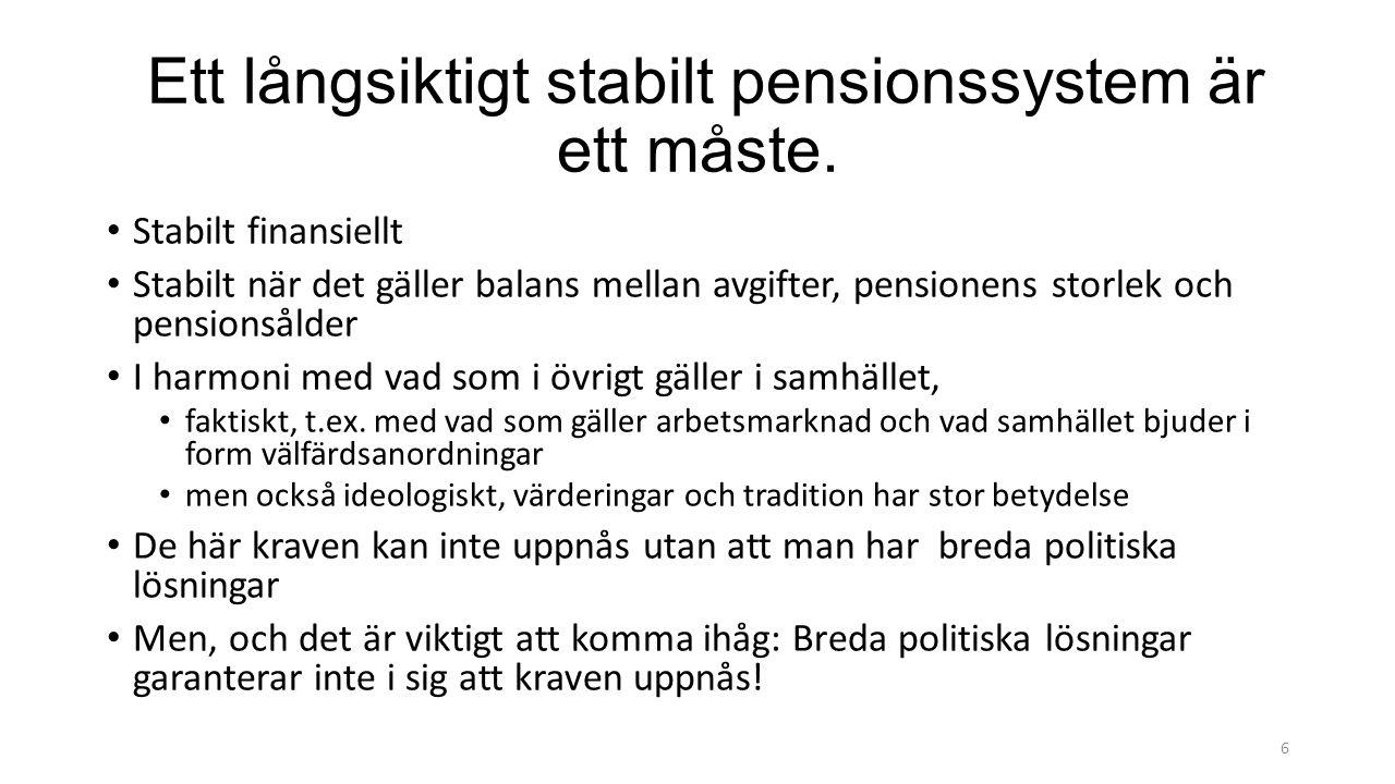 Ett långsiktigt stabilt pensionssystem är ett måste.