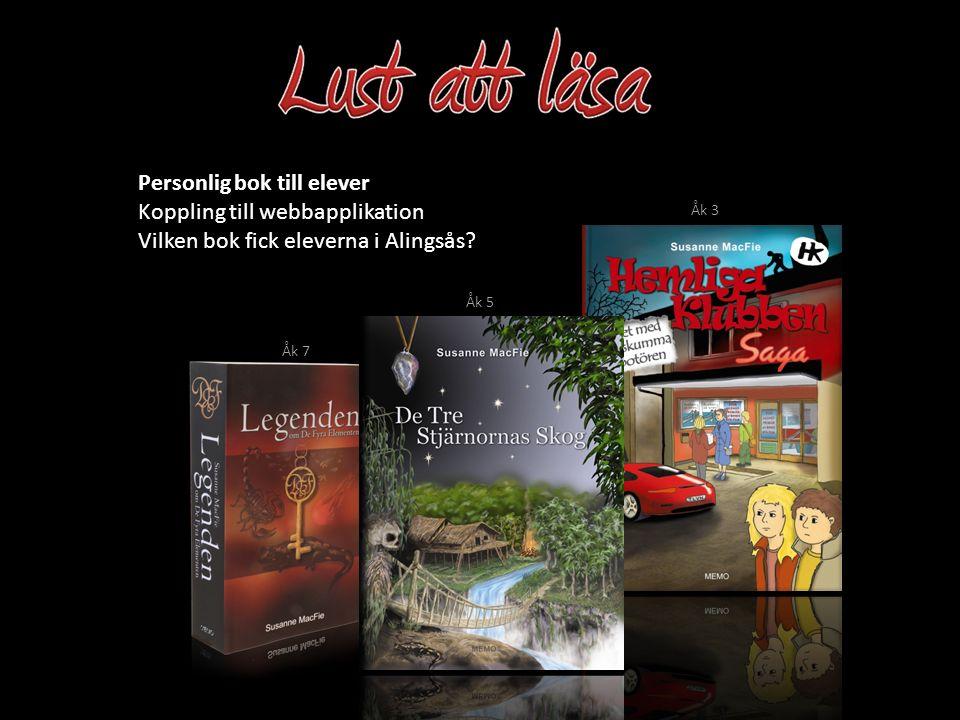 Koppling till webbapplikation Vilken bok fick eleverna i Alingsås? Personlig bok till elever Åk 3 Åk 5 Åk 7