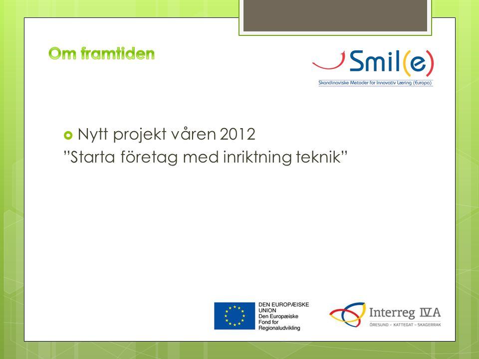  Nytt projekt våren 2012 Starta företag med inriktning teknik