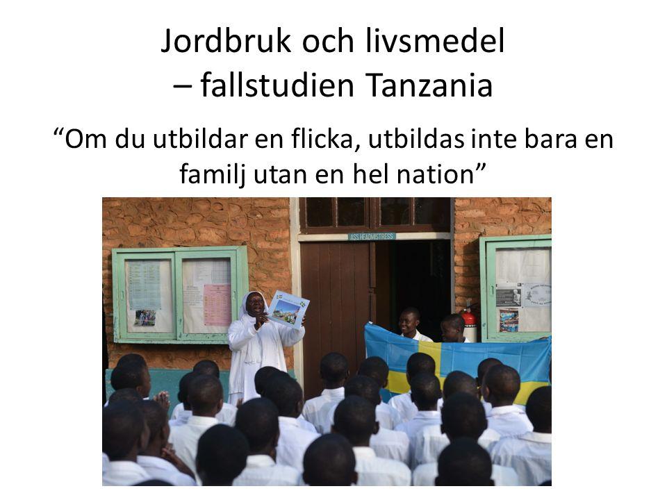 Jordbruk och livsmedel – fallstudien Tanzania Om du utbildar en flicka, utbildas inte bara en familj utan en hel nation