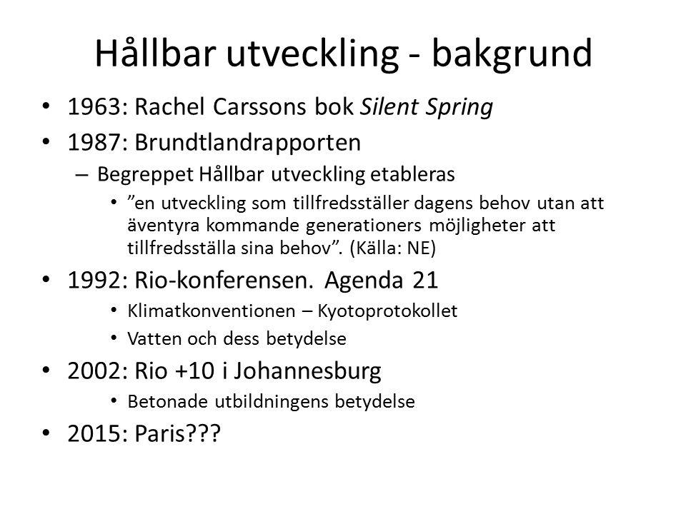 Hållbar utveckling - bakgrund 1963: Rachel Carssons bok Silent Spring 1987: Brundtlandrapporten – Begreppet Hållbar utveckling etableras en utveckling som tillfredsställer dagens behov utan att äventyra kommande generationers möjligheter att tillfredsställa sina behov .