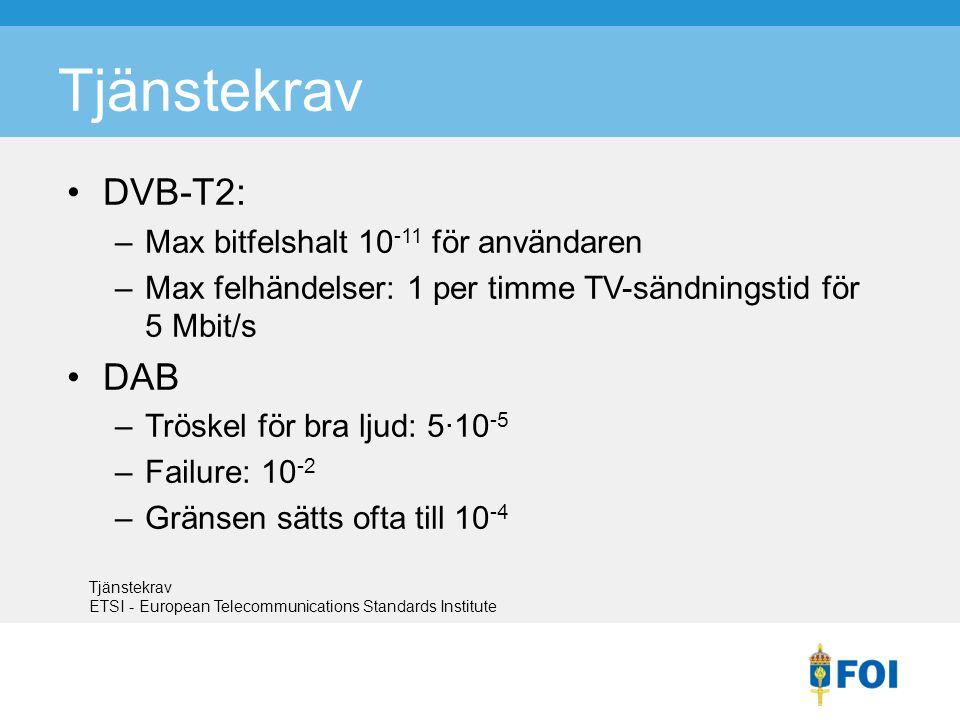 Tjänstekrav DVB-T2: –Max bitfelshalt 10 -11 för användaren –Max felhändelser: 1 per timme TV-sändningstid för 5 Mbit/s DAB –Tröskel för bra ljud: 5·10 -5 –Failure: 10 -2 –Gränsen sätts ofta till 10 -4 Tjänstekrav ETSI - European Telecommunications Standards Institute