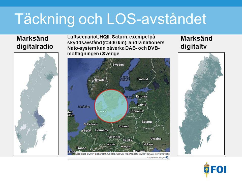 Täckning och LOS-avståndet Marksänd digitalradio Marksänd digitaltv Luftscenariot, HQII, Saturn, exempel på skyddsavstånd (r=400 km), andra nationers Nato-system kan påverka DAB- och DVB- mottagningen i Sverige