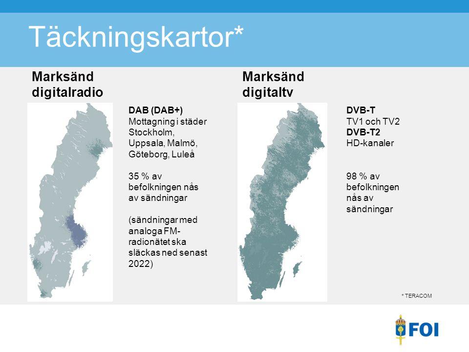 Täckningskartor* Marksänd digitalradio DAB (DAB+) Mottagning i städer Stockholm, Uppsala, Malmö, Göteborg, Luleå 35 % av befolkningen nås av sändningar (sändningar med analoga FM- radionätet ska släckas ned senast 2022) Marksänd digitaltv DVB-T TV1 och TV2 DVB-T2 HD-kanaler 98 % av befolkningen nås av sändningar * TERACOM