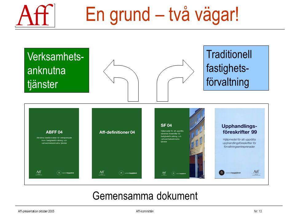 Aff-presentation oktober 2005 Aff-kommitténNr: 13 En grund – två vägar! Traditionell fastighets- förvaltning Verksamhets- anknutna tjänster Gemensamma