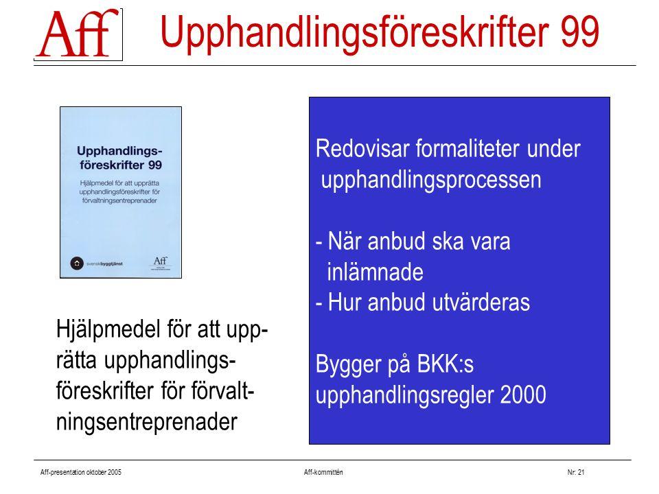 Aff-presentation oktober 2005 Aff-kommitténNr: 21 Redovisar formaliteter under upphandlingsprocessen - När anbud ska vara inlämnade - Hur anbud utvärderas Bygger på BKK:s upphandlingsregler 2000 Upphandlingsföreskrifter 99 Hjälpmedel för att upp- rätta upphandlings- föreskrifter för förvalt- ningsentreprenader