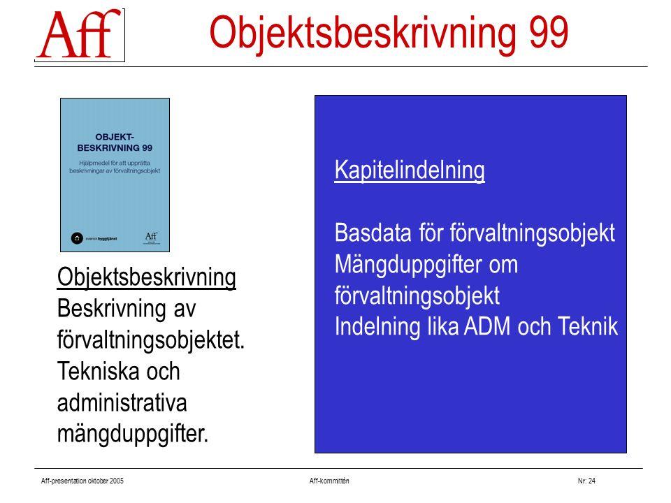 Aff-presentation oktober 2005 Aff-kommitténNr: 24 Kapitelindelning Basdata för förvaltningsobjekt Mängduppgifter om förvaltningsobjekt Indelning lika ADM och Teknik Objektsbeskrivning 99 Objektsbeskrivning Beskrivning av förvaltningsobjektet.
