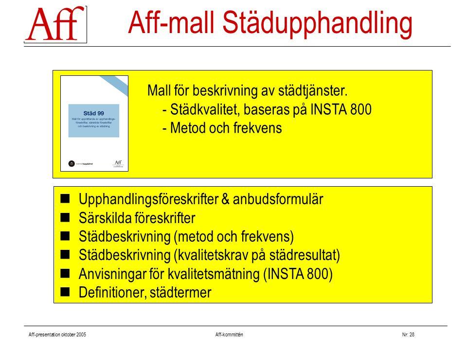 Aff-presentation oktober 2005 Aff-kommitténNr: 28 Upphandlingsföreskrifter & anbudsformulär Särskilda föreskrifter Städbeskrivning (metod och frekvens