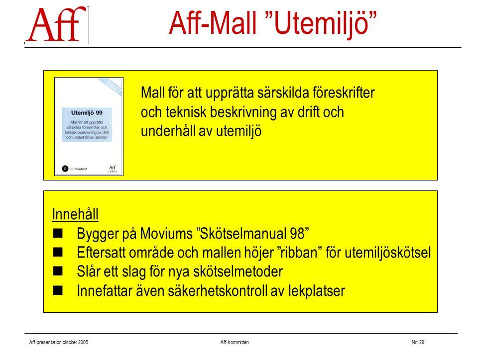 """Aff-presentation oktober 2005 Aff-kommitténNr: 29 Innehåll Bygger på Moviums """"Skötselmanual 98"""" Eftersatt område och mallen höjer """"ribban"""" för utemilj"""