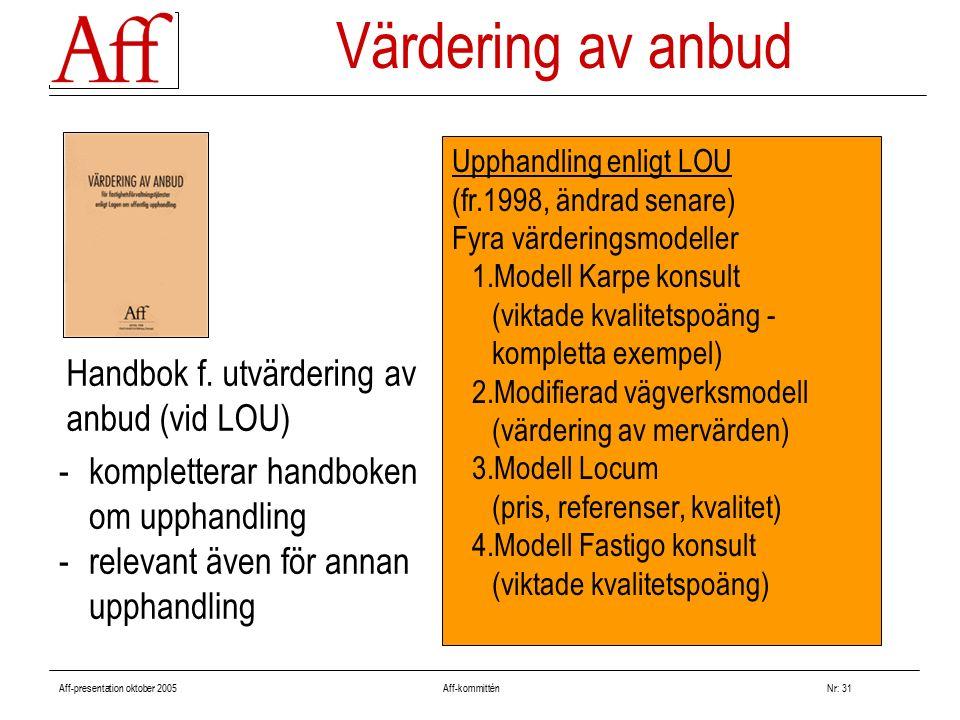 Aff-presentation oktober 2005 Aff-kommitténNr: 31 -kompletterar handboken om upphandling -relevant även för annan upphandling Upphandling enligt LOU (fr.1998, ändrad senare) Fyra värderingsmodeller 1.Modell Karpe konsult (viktade kvalitetspoäng - kompletta exempel) 2.Modifierad vägverksmodell (värdering av mervärden) 3.Modell Locum (pris, referenser, kvalitet) 4.Modell Fastigo konsult (viktade kvalitetspoäng) Värdering av anbud Handbok f.