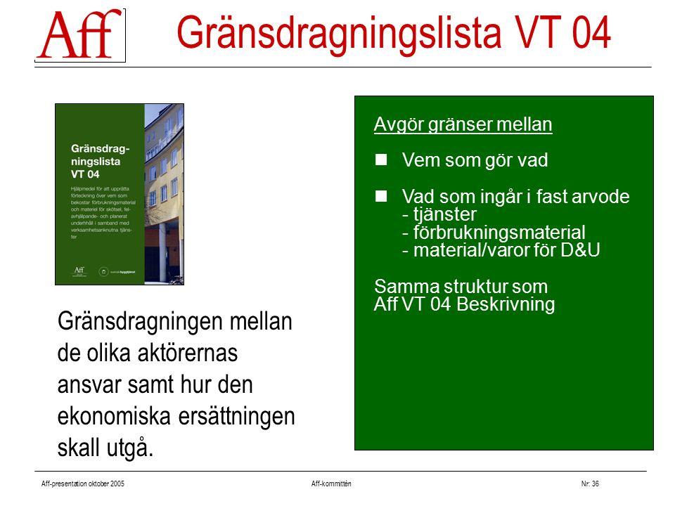 Aff-presentation oktober 2005 Aff-kommitténNr: 36 Avgör gränser mellan Vem som gör vad Vad som ingår i fast arvode - tjänster - förbrukningsmaterial - material/varor för D&U Samma struktur som Aff VT 04 Beskrivning Gränsdragningslista VT 04 Gränsdragningen mellan de olika aktörernas ansvar samt hur den ekonomiska ersättningen skall utgå.