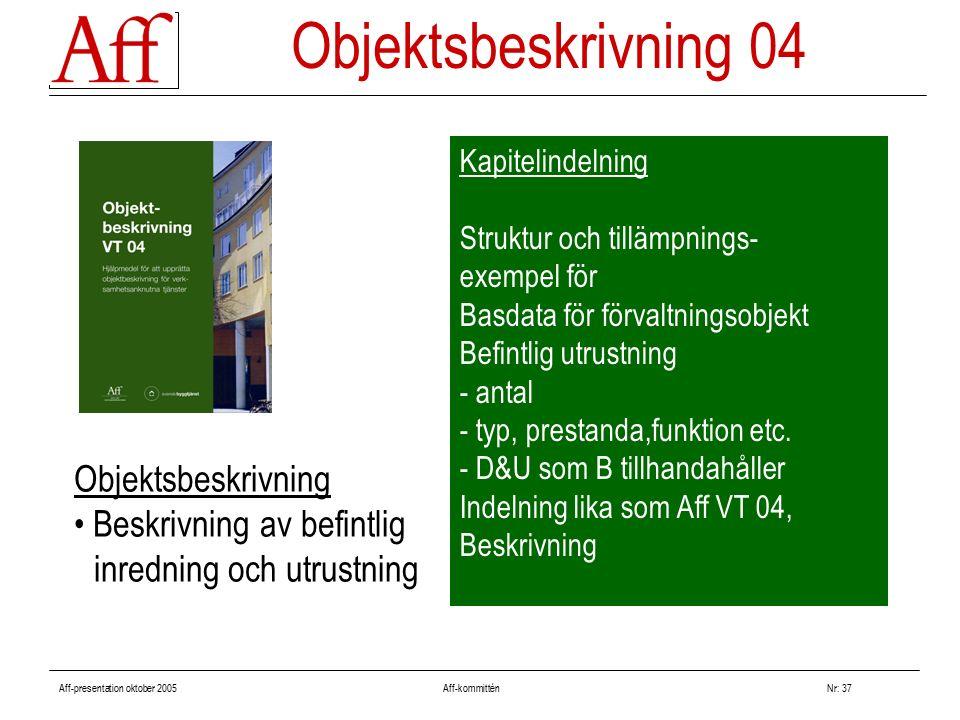 Aff-presentation oktober 2005 Aff-kommitténNr: 37 Kapitelindelning Struktur och tillämpnings- exempel för Basdata för förvaltningsobjekt Befintlig utrustning - antal - typ, prestanda,funktion etc.