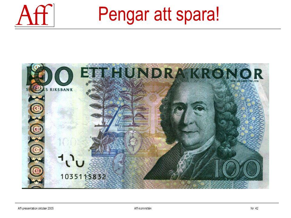 Aff-presentation oktober 2005 Aff-kommitténNr: 42 Pengar att spara!