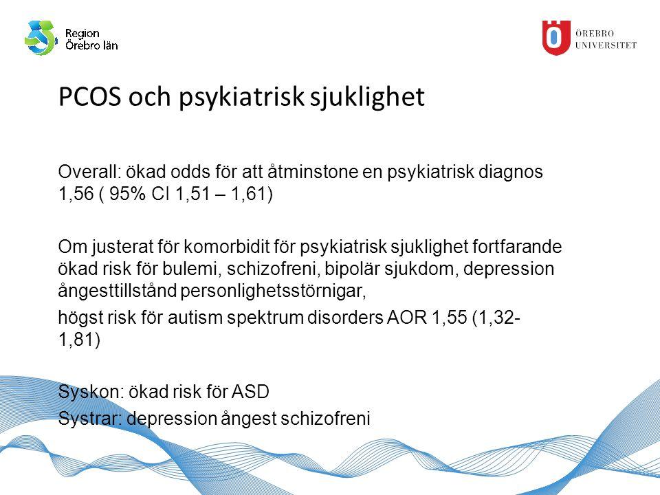 PCOS och psykiatrisk sjuklighet Overall: ökad odds för att åtminstone en psykiatrisk diagnos 1,56 ( 95% CI 1,51 – 1,61) Om justerat för komorbidit för psykiatrisk sjuklighet fortfarande ökad risk för bulemi, schizofreni, bipolär sjukdom, depression ångesttillstånd personlighetsstörnigar, högst risk för autism spektrum disorders AOR 1,55 (1,32- 1,81) Syskon: ökad risk för ASD Systrar: depression ångest schizofreni