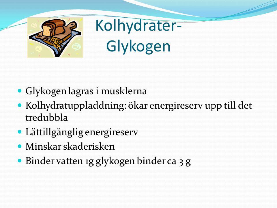 Kolhydrater- Glykogen Glykogen lagras i musklerna Kolhydratuppladdning: ökar energireserv upp till det tredubbla Lättillgänglig energireserv Minskar skaderisken Binder vatten 1g glykogen binder ca 3 g