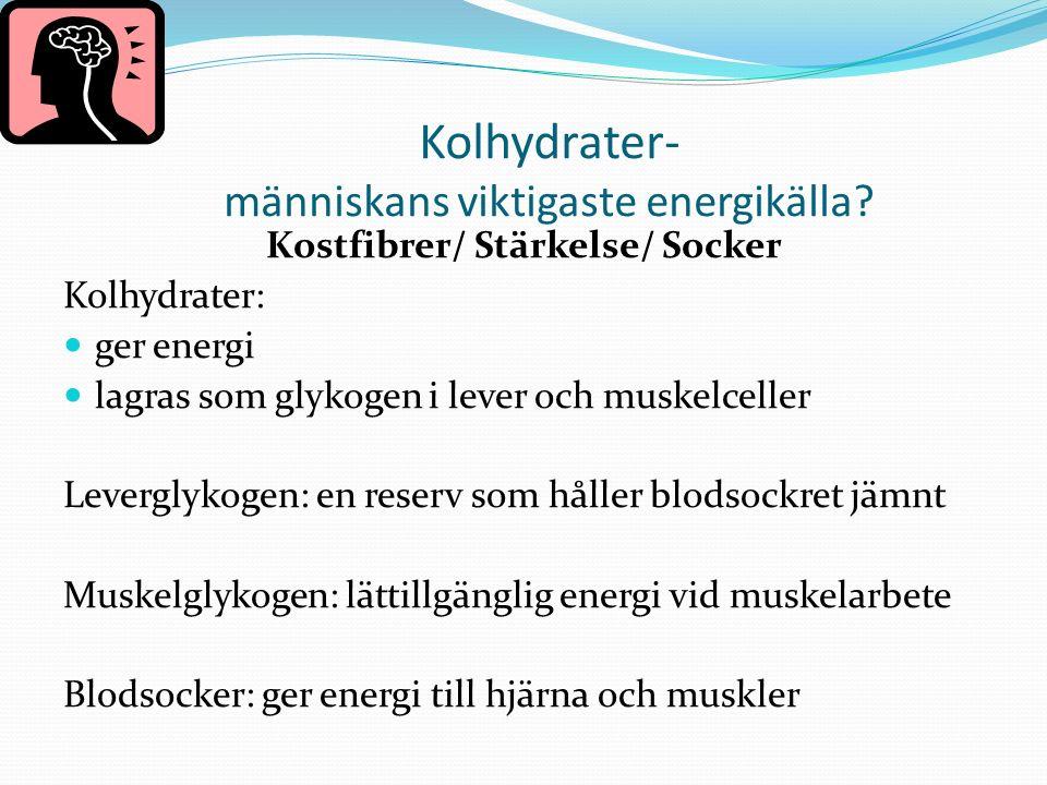 Kolhydrater- människans viktigaste energikälla.