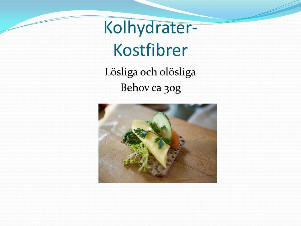 Kolhydrater- Kostfibrer Lösliga och olösliga Behov ca 30g