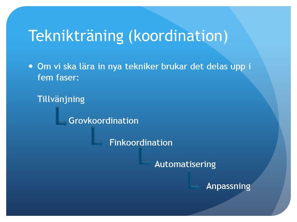 Teknikträning (koordination) Om vi ska lära in nya tekniker brukar det delas upp i fem faser: Tillvänjning Grovkoordination Finkoordination Automatisering Anpassning