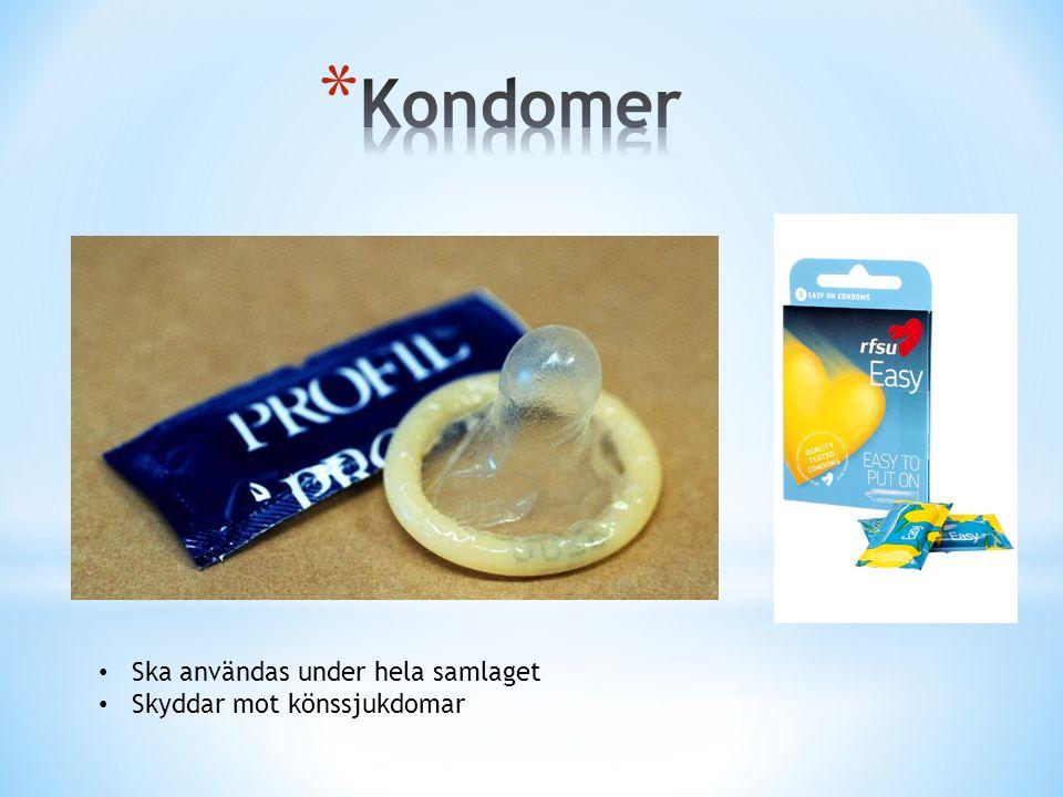 Ska användas under hela samlaget Skyddar mot könssjukdomar