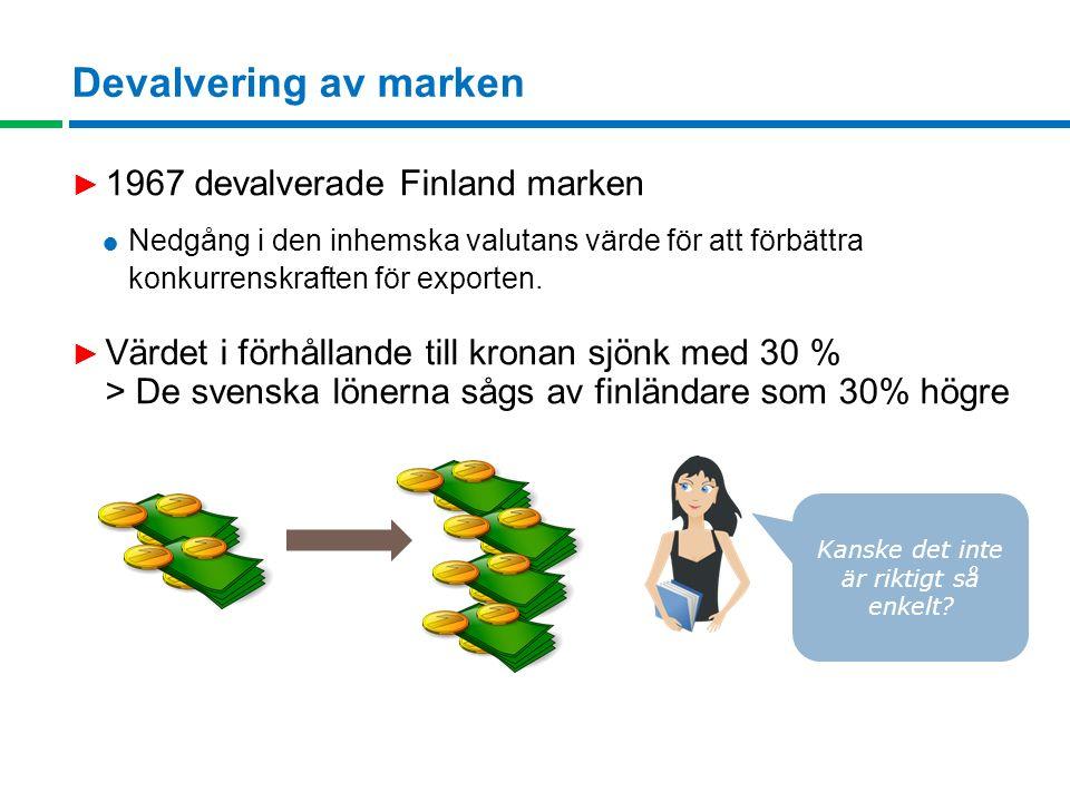 Devalvering av marken ► 1967 devalverade Finland marken  Nedgång i den inhemska valutans värde för att förbättra konkurrenskraften för exporten.