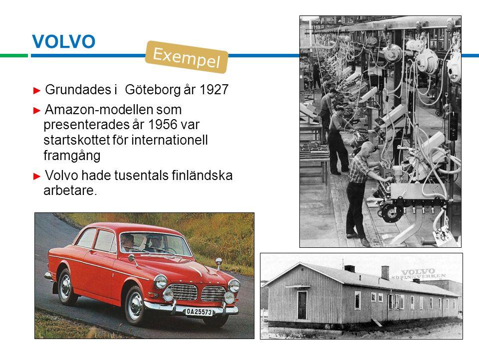 VOLVO ► Grundades i Göteborg år 1927 ► Amazon-modellen som presenterades år 1956 var startskottet för internationell framgång ► Volvo hade tusentals finländska arbetare.