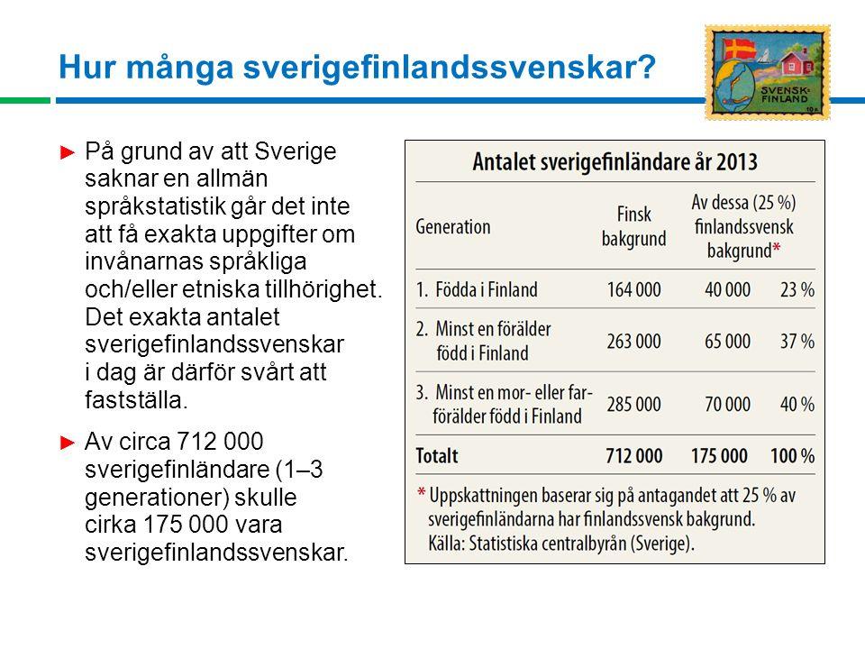 Hur många sverigefinlandssvenskar.