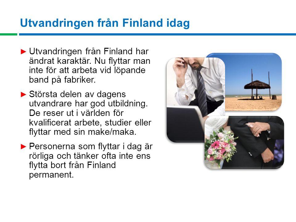 Utvandringen från Finland idag ► Utvandringen från Finland har ändrat karaktär.