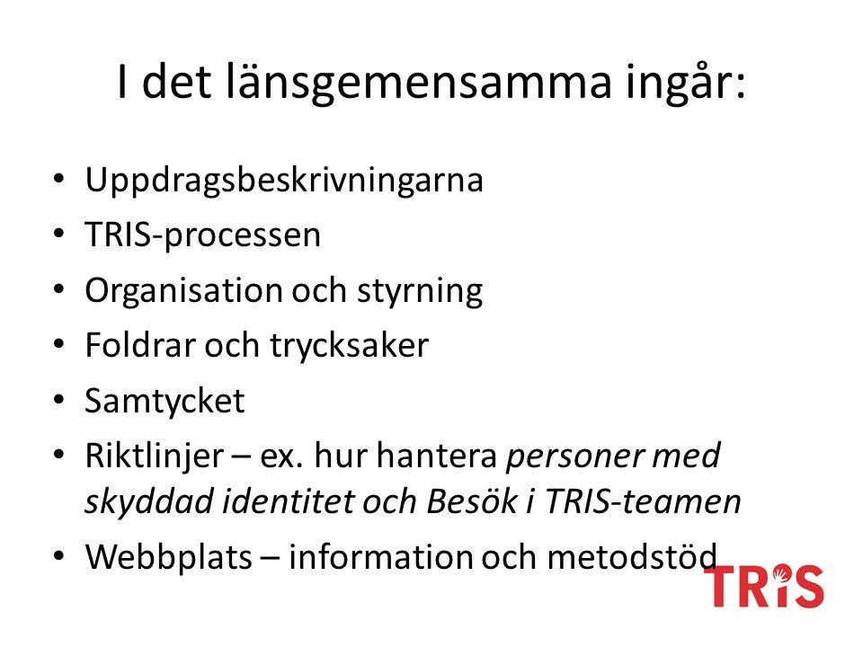 I det länsgemensamma ingår: Uppdragsbeskrivningarna TRIS-processen Organisation och styrning Foldrar och trycksaker Samtycket Riktlinjer – ex.