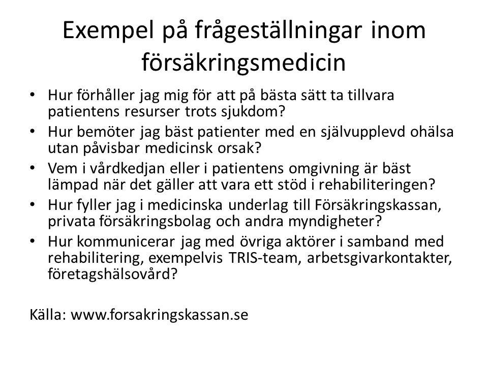 Exempel på frågeställningar inom försäkringsmedicin Hur förhåller jag mig för att på bästa sätt ta tillvara patientens resurser trots sjukdom.