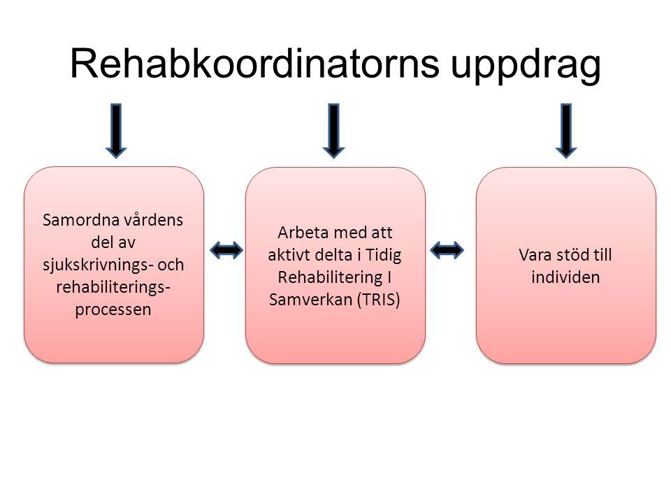 Rehabkoordinatorns uppdrag Samordna vårdens del av sjukskrivnings- och rehabiliterings- processen Arbeta med att aktivt delta i Tidig Rehabilitering I Samverkan (TRIS) Vara stöd till individen
