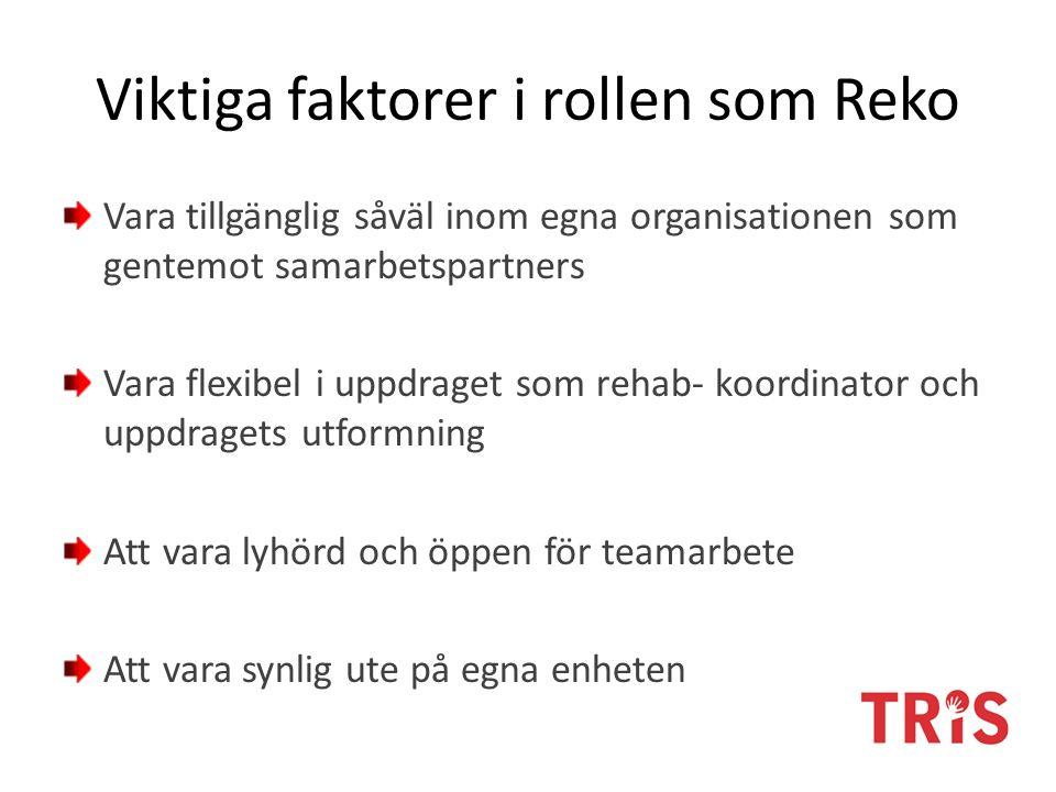 Viktiga faktorer i rollen som Reko Vara tillgänglig såväl inom egna organisationen som gentemot samarbetspartners Vara flexibel i uppdraget som rehab- koordinator och uppdragets utformning Att vara lyhörd och öppen för teamarbete Att vara synlig ute på egna enheten