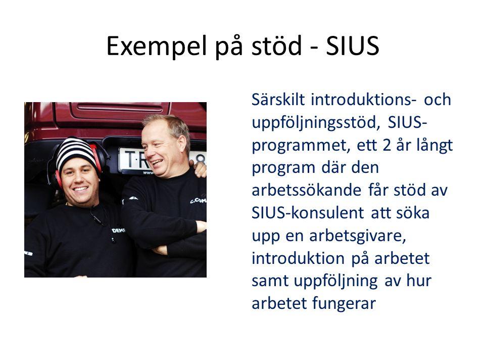 Exempel på stöd - SIUS Särskilt introduktions- och uppföljningsstöd, SIUS- programmet, ett 2 år långt program där den arbetssökande får stöd av SIUS-konsulent att söka upp en arbetsgivare, introduktion på arbetet samt uppföljning av hur arbetet fungerar