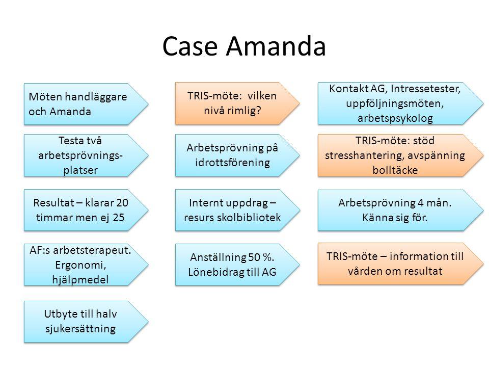Case Amanda Möten handläggare och Amanda TRIS-möte: vilken nivå rimlig.