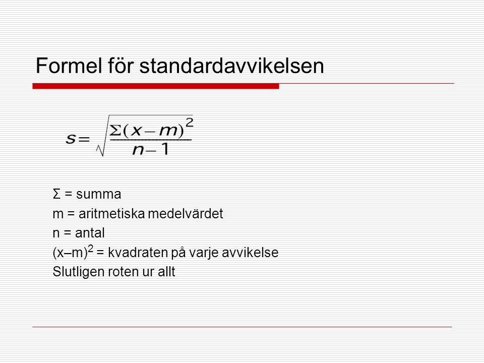 Formel för standardavvikelsen Σ = summa m = aritmetiska medelvärdet n = antal (x–m) 2 = kvadraten på varje avvikelse Slutligen roten ur allt