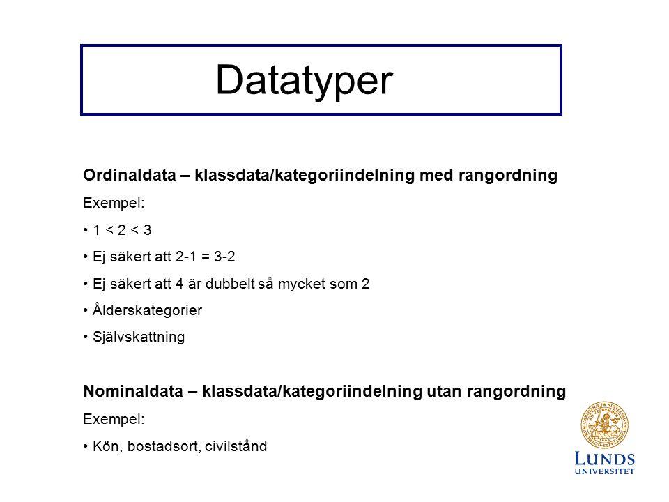 Datatyper Ordinaldata – klassdata/kategoriindelning med rangordning Exempel: 1 < 2 < 3 Ej säkert att 2-1 = 3-2 Ej säkert att 4 är dubbelt så mycket som 2 Ålderskategorier Självskattning Nominaldata – klassdata/kategoriindelning utan rangordning Exempel: Kön, bostadsort, civilstånd