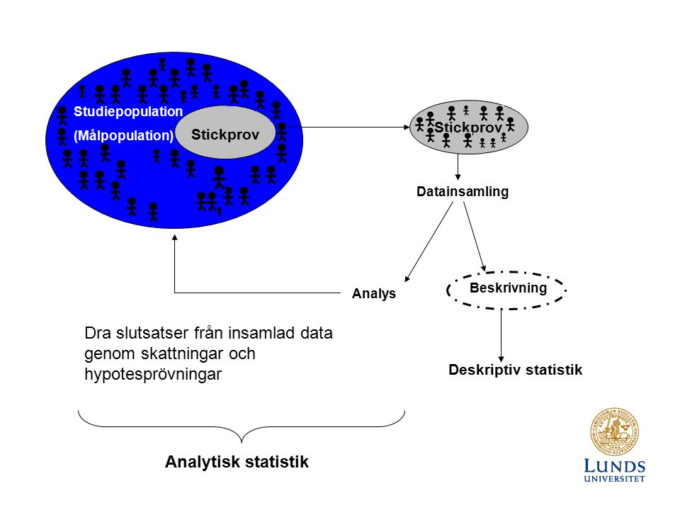 Studiepopulation (Målpopulation) Stickprov Analys Beskrivning Deskriptiv statistik Datainsamling Dra slutsatser från insamlad data genom skattningar och hypotesprövningar Analytisk statistik