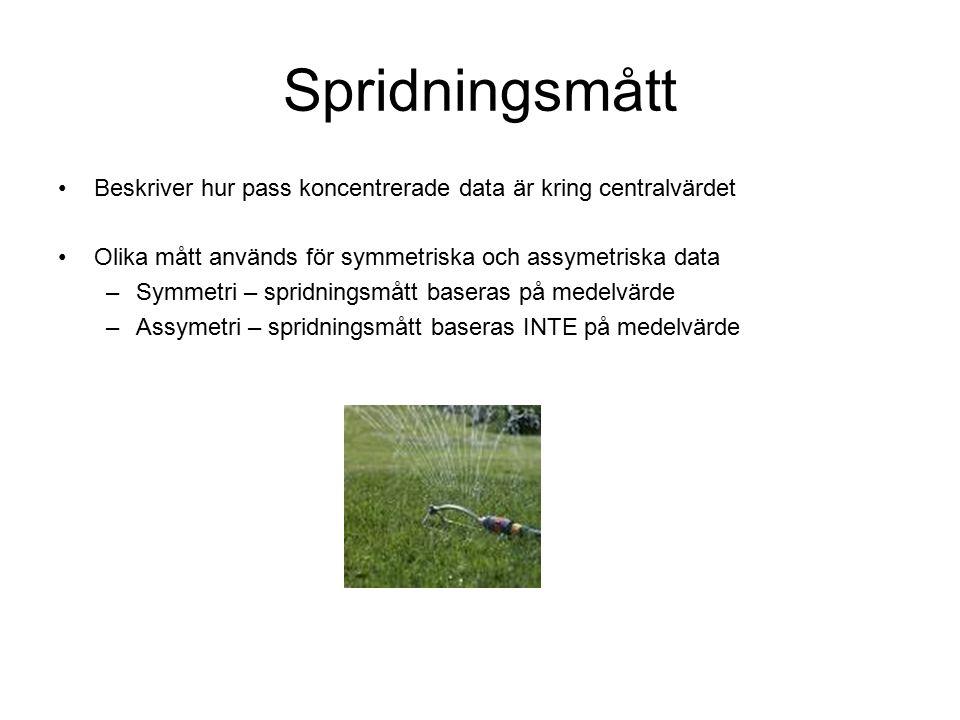 Spridningsmått Beskriver hur pass koncentrerade data är kring centralvärdet Olika mått används för symmetriska och assymetriska data –Symmetri – spridningsmått baseras på medelvärde –Assymetri – spridningsmått baseras INTE på medelvärde