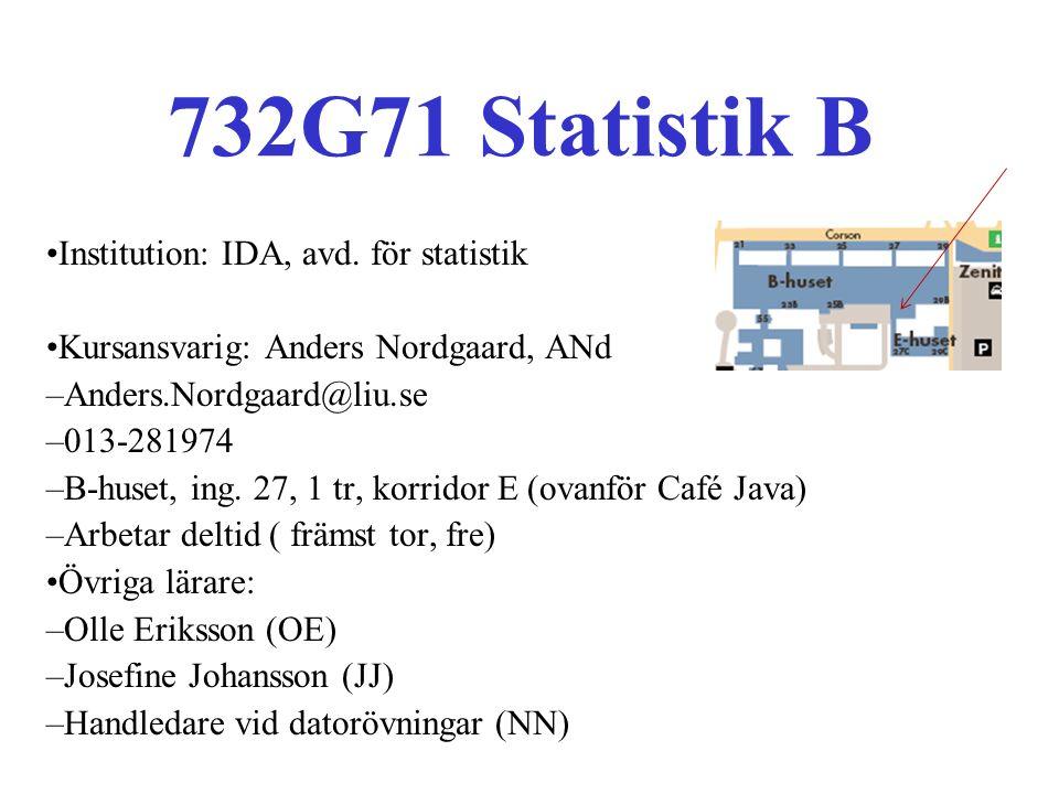 Kurshemsida: www.ida.liu.se/~732G71 Kurslitteratur: –Andersson G, Jorner U, Ågren A: Regressions- och tidsserieanalys.