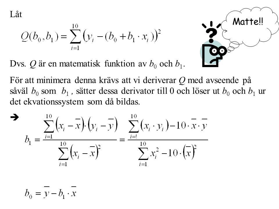 Låt Dvs. Q är en matematisk funktion av b 0 och b 1.