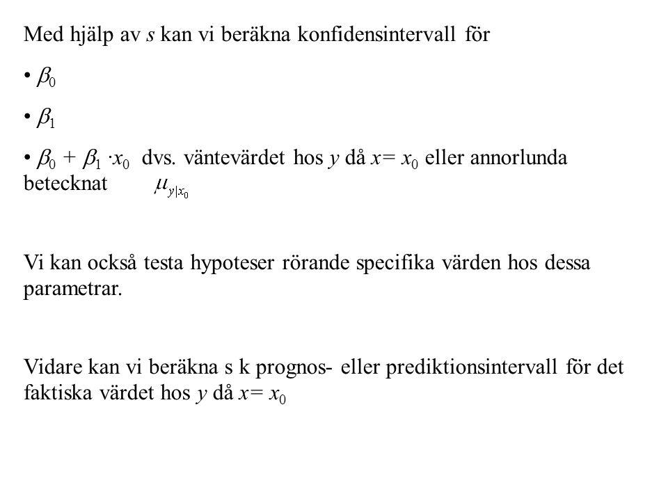 Med hjälp av s kan vi beräkna konfidensintervall för  0  1  0 +  1 ·x 0 dvs.