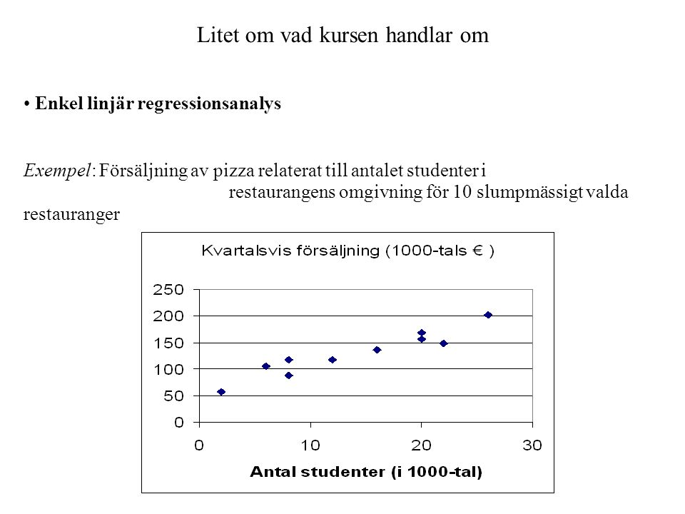 Litet om vad kursen handlar om Enkel linjär regressionsanalys Exempel: Försäljning av pizza relaterat till antalet studenter i restaurangens omgivning för 10 slumpmässigt valda restauranger