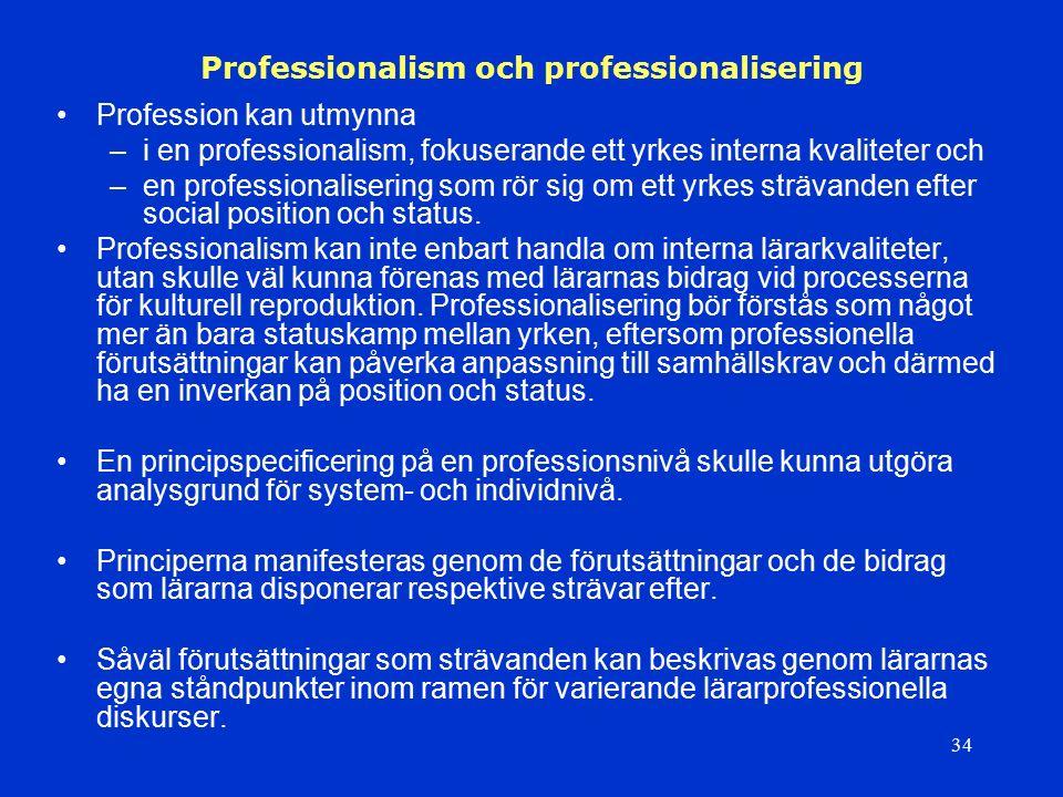 34 Professionalism och professionalisering Profession kan utmynna –i en professionalism, fokuserande ett yrkes interna kvaliteter och –en professional