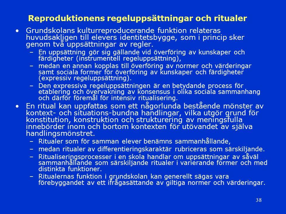 38 Reproduktionens regeluppsättningar och ritualer Grundskolans kulturreproducerande funktion relateras huvudsakligen till elevers identitetsbygge, so