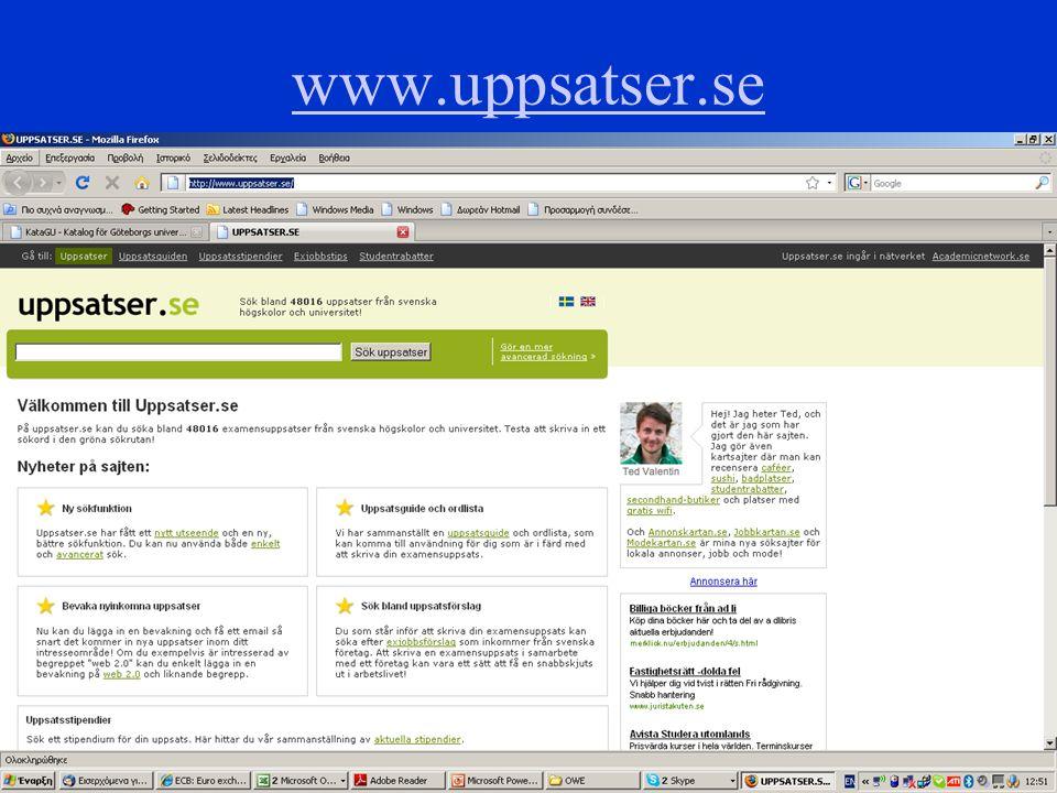 9 www.ub.gu.se/sok/samsok www.ub.gu.se/sok/samsok (välj snabbsökning)