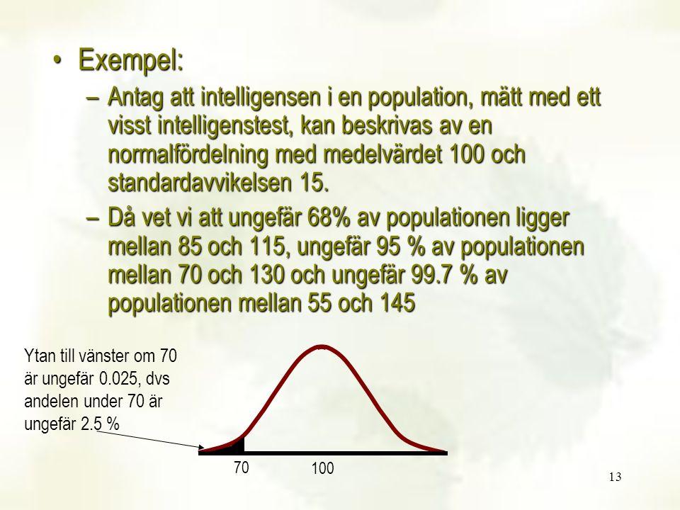 13 Exempel:Exempel: –Antag att intelligensen i en population, mätt med ett visst intelligenstest, kan beskrivas av en normalfördelning med medelvärdet 100 och standardavvikelsen 15.