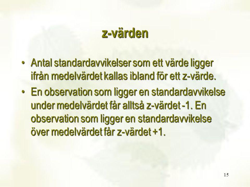 15 z-värden Antal standardavvikelser som ett värde ligger ifrån medelvärdet kallas ibland för ett z-värde.Antal standardavvikelser som ett värde ligger ifrån medelvärdet kallas ibland för ett z-värde.
