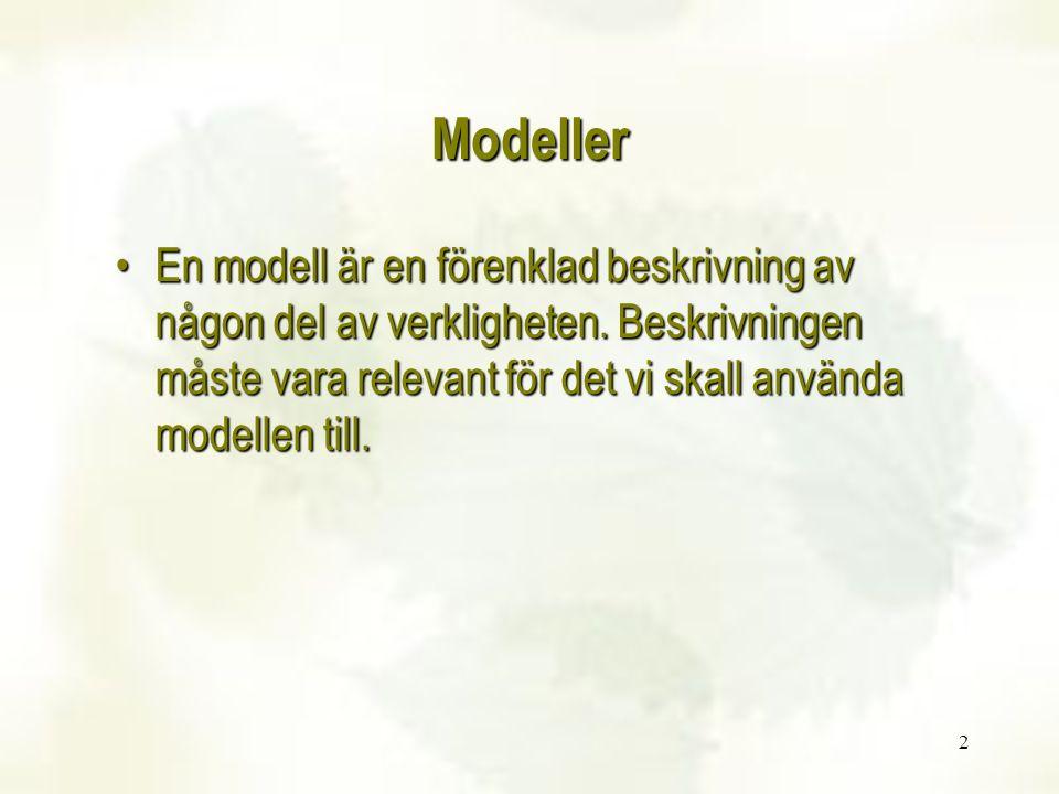 2 En modell är en förenklad beskrivning av någon del av verkligheten. Beskrivningen måste vara relevant för det vi skall använda modellen till.En mode