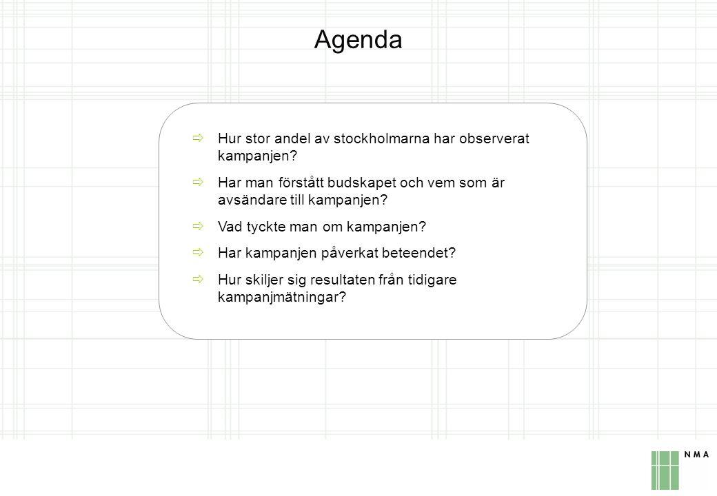 Metod Mätning 3 Kampanj:vecka 16-19 2006 Mätning:vecka 20-21 2006 Mätning 2 Kampanj: vecka 47-48 2005 Mätning: vecka 49-50 2005 Mätning 1 Kampanj: vecka 18-21 2005 Mätning: vecka 22-23 2005 Undersökningens målgrupp Män och kvinnor i åldrarna 25-64 år som är bosatta i Stockholm Urval Obundet och slumpmässigt urval ur NMAs telefonrekryterade Internetpanel Metod Intervjuerna har gjorts via Internet Antal intervjuer Mätning 3: 433 intervjuer, Mätning 2: 375 intervjuer, Mätning 1: 381 intervjuer Felmarginaler 1-4%
