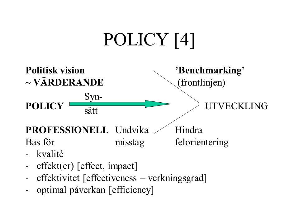 POLICY [4] Politisk vision'Benchmarking' ~ VÄRDERANDE (frontlinjen) POLICYUTVECKLING PROFESSIONELL Undvika Hindra Bas för misstagfelorientering -kvali